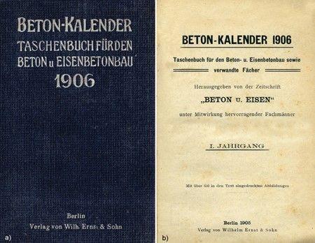 Buchumschlag Titelblatt des Beton-Kalenders 1906