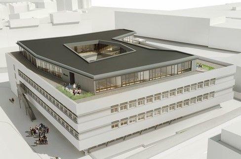 Kategorie Hochbau Aufstockung der Ferrarischule Innsbruck – Grafik: huber+theissl Architekten