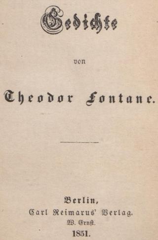 Titelseite von Theodor Fontanes 1951 erschienen Gedichtband (© Deutsches Textarchiv an der Berlin-Brandenburgischen Akademie der Wissenschaften)