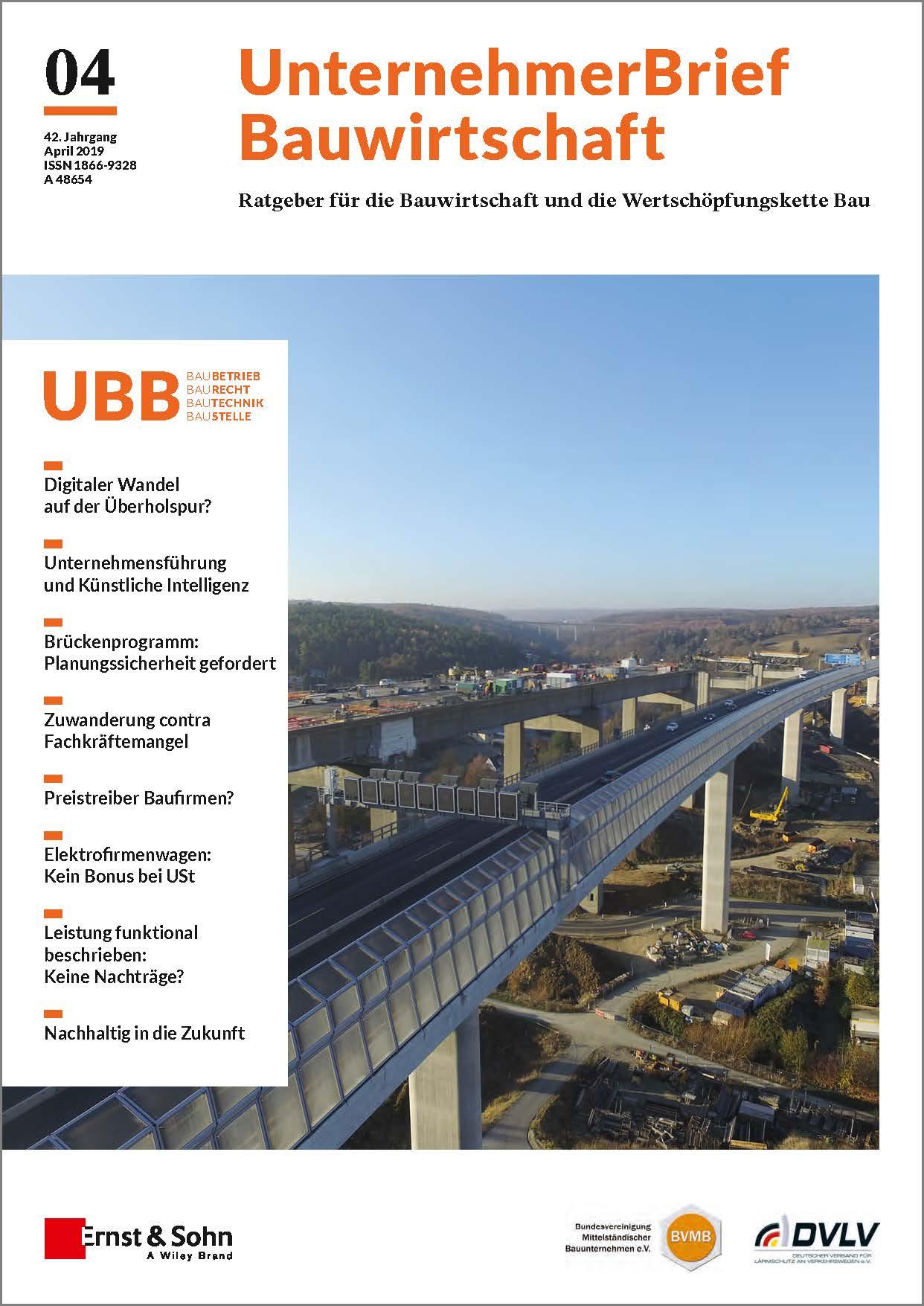 UnternehemerBrief Bauwirtschaft Cover 4/2019