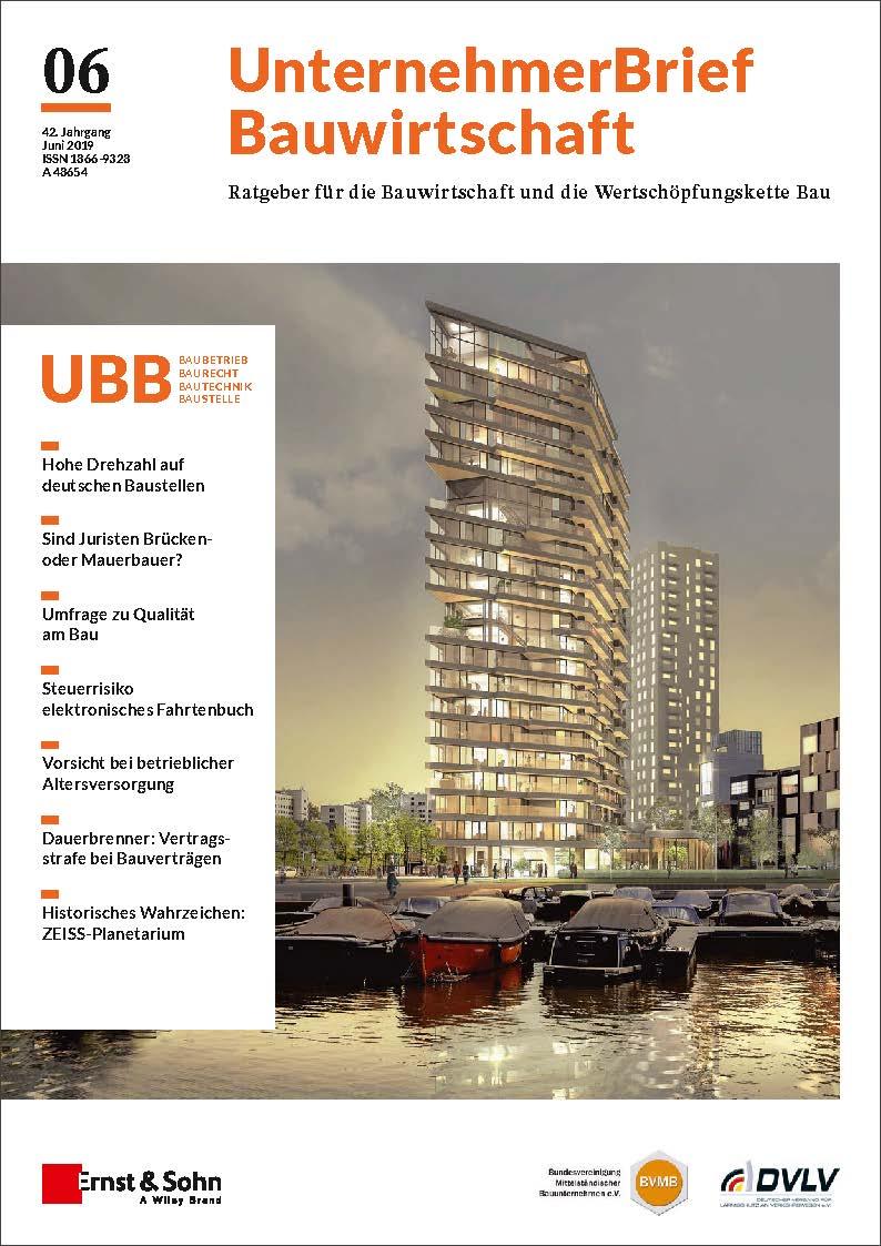 UnternehemerBrief Bauwirtschaft Cover 6/2019